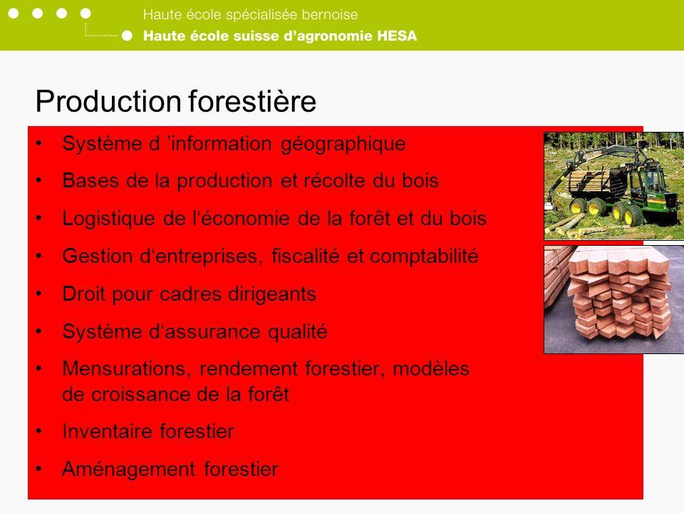 Système d information géographique Bases de la production et récolte du bois Logistique de léconomie de la forêt et du bois Gestion dentreprises, fiscalité et comptabilité Droit pour cadres dirigeants Système dassurance qualité Mensurations, rendement forestier, modèles de croissance de la forêt Inventaire forestier Aménagement forestier Production forestière