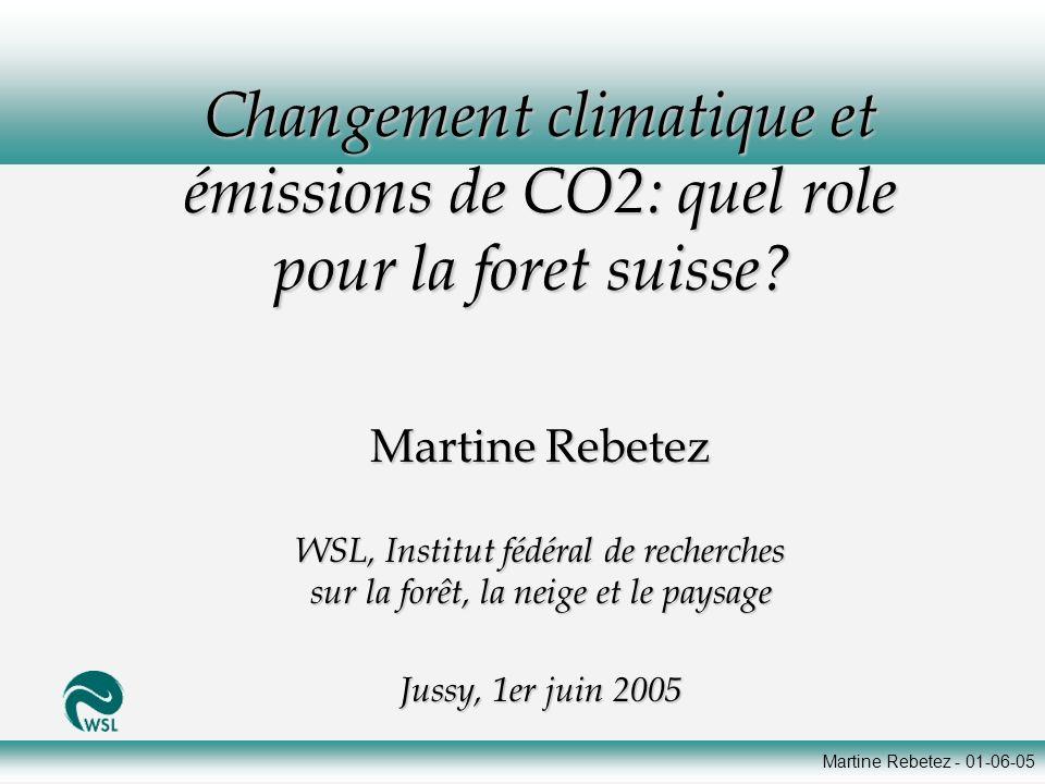 Martine Rebetez - 01-06-05 Changement climatique et émissions de CO2: quel role pour la foret suisse? Changement climatique et émissions de CO2: quel