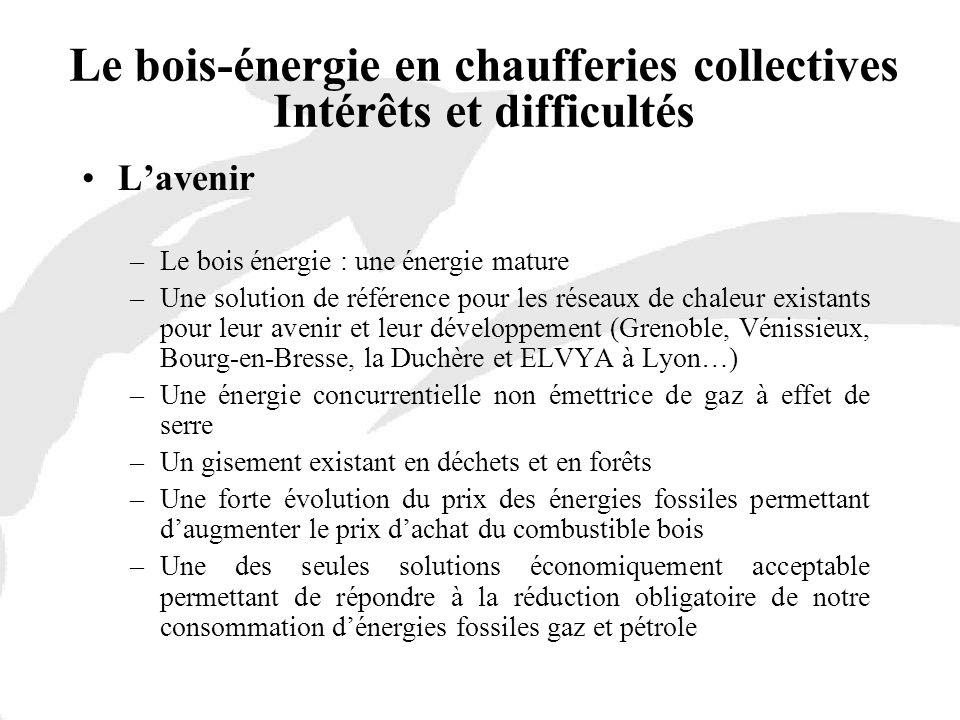 Lavenir –Le bois énergie : une énergie mature –Une solution de référence pour les réseaux de chaleur existants pour leur avenir et leur développement