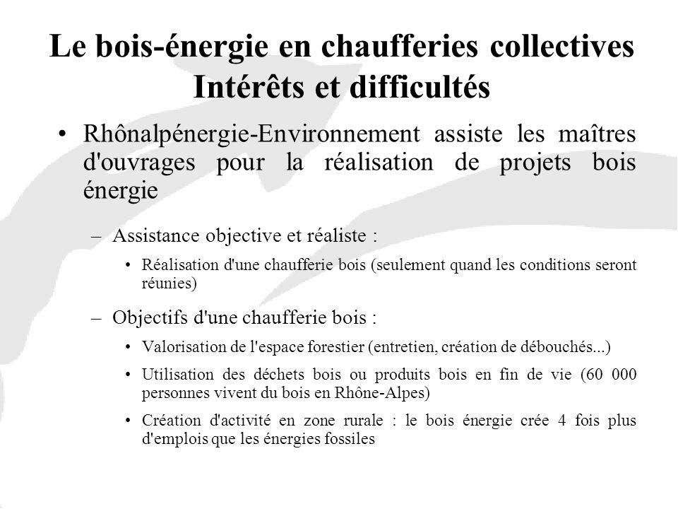 Le bois-énergie en chaufferies collectives Intérêts et difficultés Rhônalpénergie-Environnement assiste les maîtres d'ouvrages pour la réalisation de