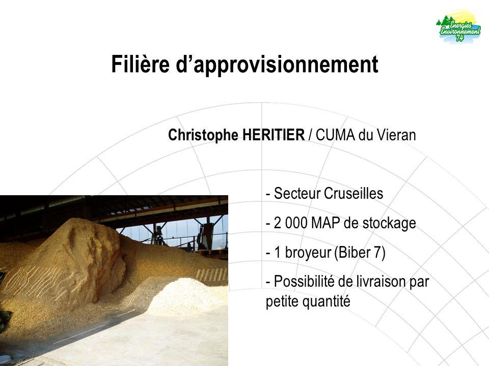 Filière dapprovisionnement Christophe HERITIER / CUMA du Vieran - Secteur Cruseilles - 2 000 MAP de stockage - 1 broyeur (Biber 7) - Possibilité de livraison par petite quantité
