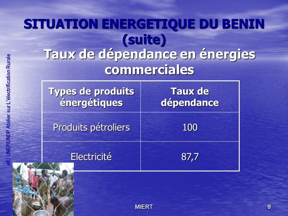 MIERT9 SITUATION ENERGETIQUE DU BENIN (suite) Taux de dépendance en énergies commerciales Types de produits énergétiques Taux de dépendance Produits pétroliers 100 Electricité87,7 e8 / UNEP/UNDP Atelier sur L électrification Rurale