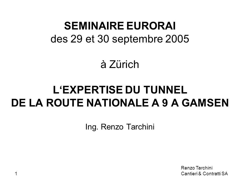 Renzo Tarchini Cantieri & Contratti SA1 SEMINAIRE EURORAI des 29 et 30 septembre 2005 à Zürich LEXPERTISE DU TUNNEL DE LA ROUTE NATIONALE A 9 A GAMSEN Ing.