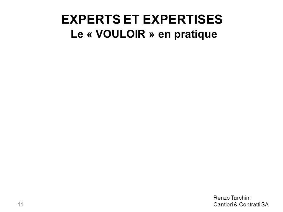 Renzo Tarchini Cantieri & Contratti SA11 EXPERTS ET EXPERTISES Le « VOULOIR » en pratique