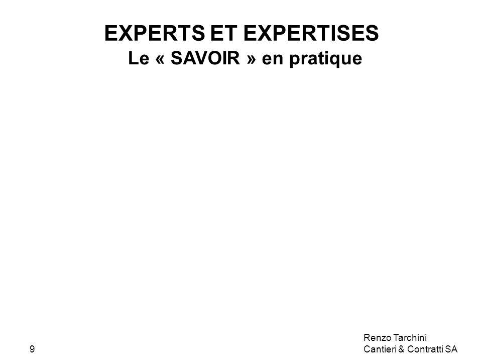 Renzo Tarchini Cantieri & Contratti SA9 EXPERTS ET EXPERTISES Le « SAVOIR » en pratique