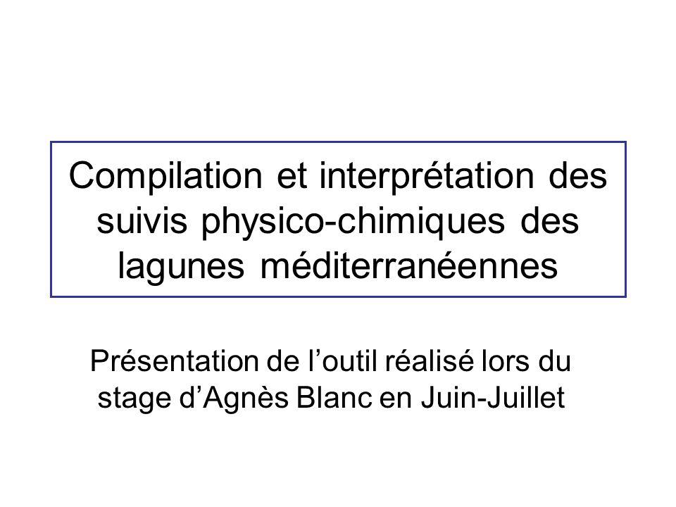 Compilation et interprétation des suivis physico-chimiques des lagunes méditerranéennes Présentation de loutil réalisé lors du stage dAgnès Blanc en Juin-Juillet