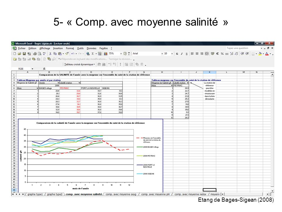 5- « Comp. avec moyenne salinité » Etang de Bages-Sigean (2008)