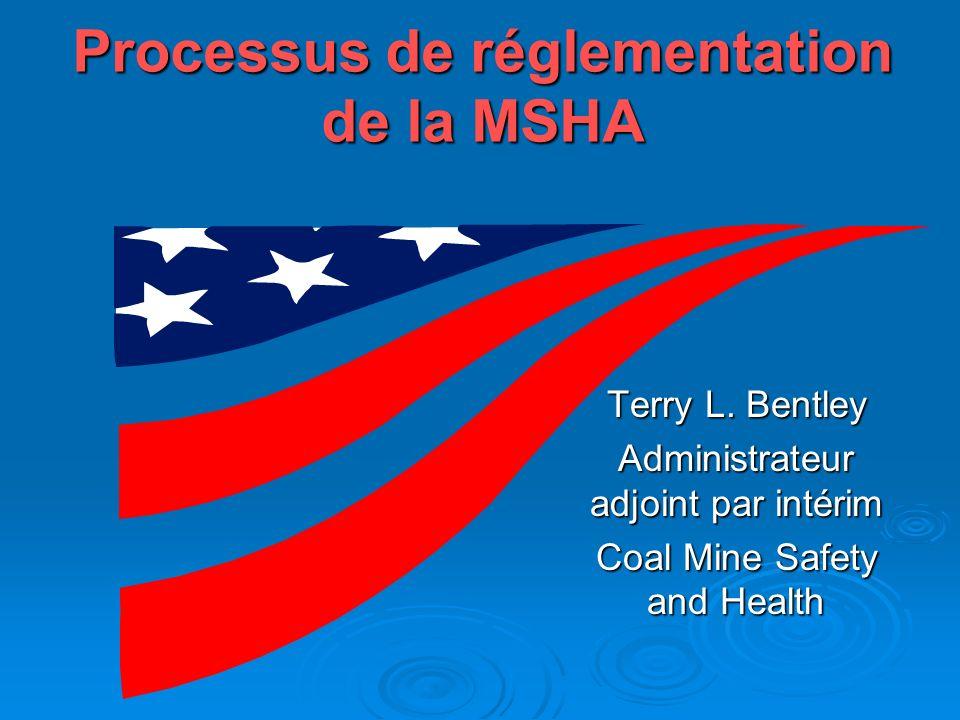 La loi La Loi fédérale sur les mines -- La Loi fédérale sur les mines -- adopte la Loi sur les procédures administratives adopte la Loi sur les procédures administratives permet au public de formuler des commentaires permet une réglementation durgence permet une réglementation durgence interdit de réduire la protection interdit de réduire la protection donne 60 jours pour contester les règles donne 60 jours pour contester les règles