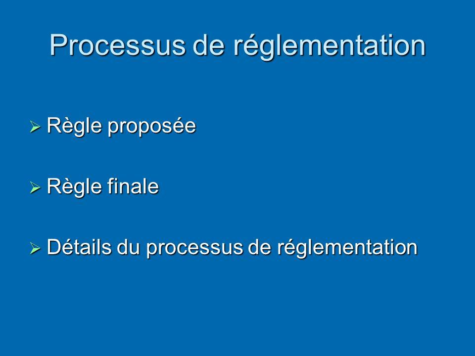Processus de réglementation Règle proposée Règle proposée Règle finale Règle finale Détails du processus de réglementation Détails du processus de réglementation