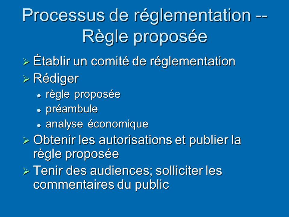 Processus de réglementation -- Règle proposée Établir un comité de réglementation Établir un comité de réglementation Rédiger Rédiger règle proposée règle proposée préambule préambule analyse économique analyse économique Obtenir les autorisations et publier la règle proposée Obtenir les autorisations et publier la règle proposée Tenir des audiences; solliciter les commentaires du public Tenir des audiences; solliciter les commentaires du public