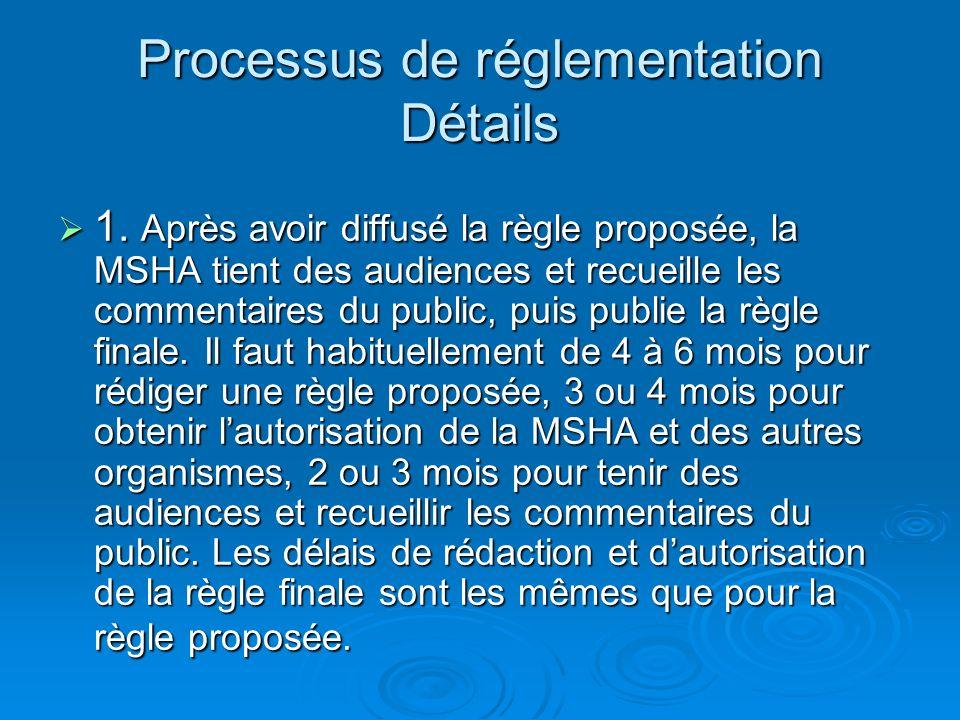 Processus de réglementation Détails 1.