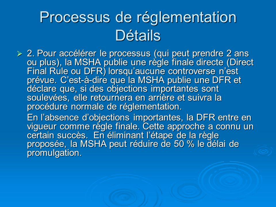 Processus de réglementation Détails 3.