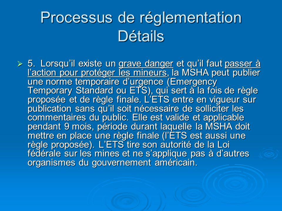 Processus de réglementation Détails 5.