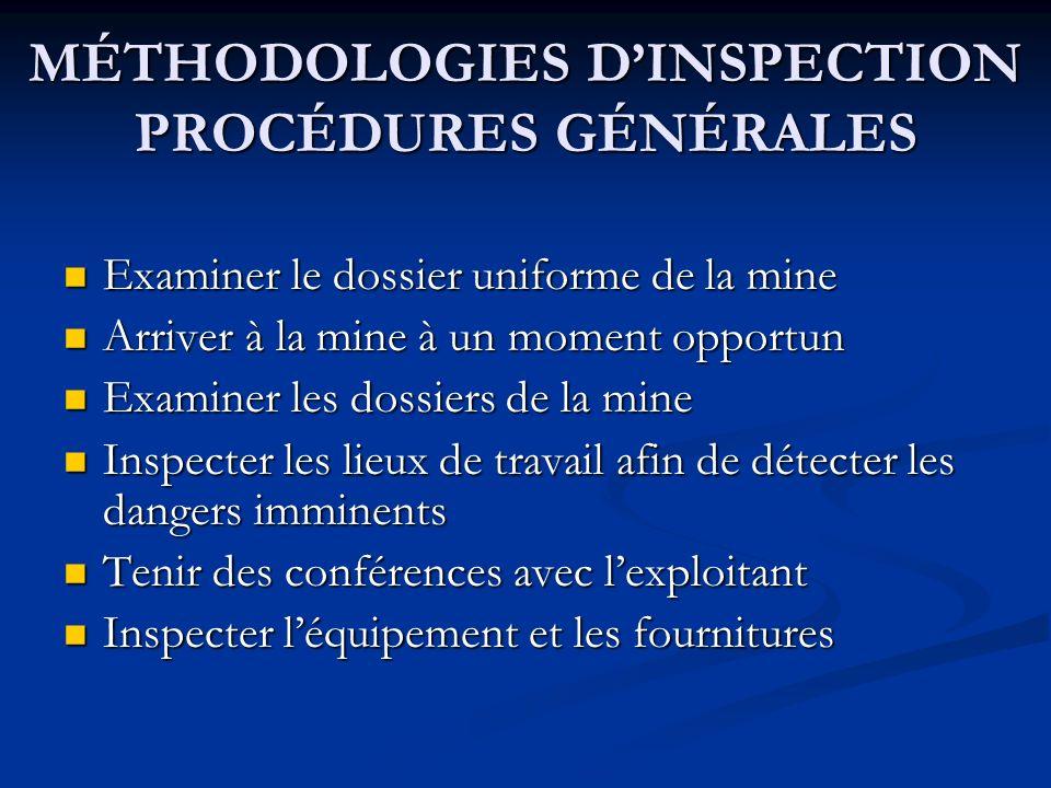 MÉTHODOLOGIES DINSPECTION PROCÉDURES GÉNÉRALES Examiner le dossier uniforme de la mine Examiner le dossier uniforme de la mine Arriver à la mine à un moment opportun Arriver à la mine à un moment opportun Examiner les dossiers de la mine Examiner les dossiers de la mine Inspecter les lieux de travail afin de détecter les dangers imminents Inspecter les lieux de travail afin de détecter les dangers imminents Tenir des conférences avec lexploitant Tenir des conférences avec lexploitant Inspecter léquipement et les fournitures Inspecter léquipement et les fournitures