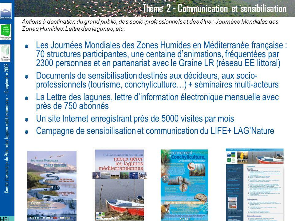 Comité dorientation du Pôle relais lagunes méditerranéennes – 15 septembre 2009 Thème 3 – Animation de réseau et échanges dexpériences Un réseau dune quarantaine de gestionnaires sur les régions Languedoc- Roussillon, Provence-Alpes-Côte dAzur et Corse Veille informative régulière Quatre réunions régionales/interrégionales par an Un voyage détude annuel sur les lagunes des trois régions Outils méthodologiques Lien avec les autres Pôles relais / autres réseaux (RRGMA, RENPLR, RSL…) Appui au montage de projet : le programme LIFE + LAGNature (5 sites Natura 2000 en LR) MRi Actions à destination du réseau des gestionnaires de lagunes (journées d échanges d expérience, voyages d étude, formations, émergence de projets, etc.)