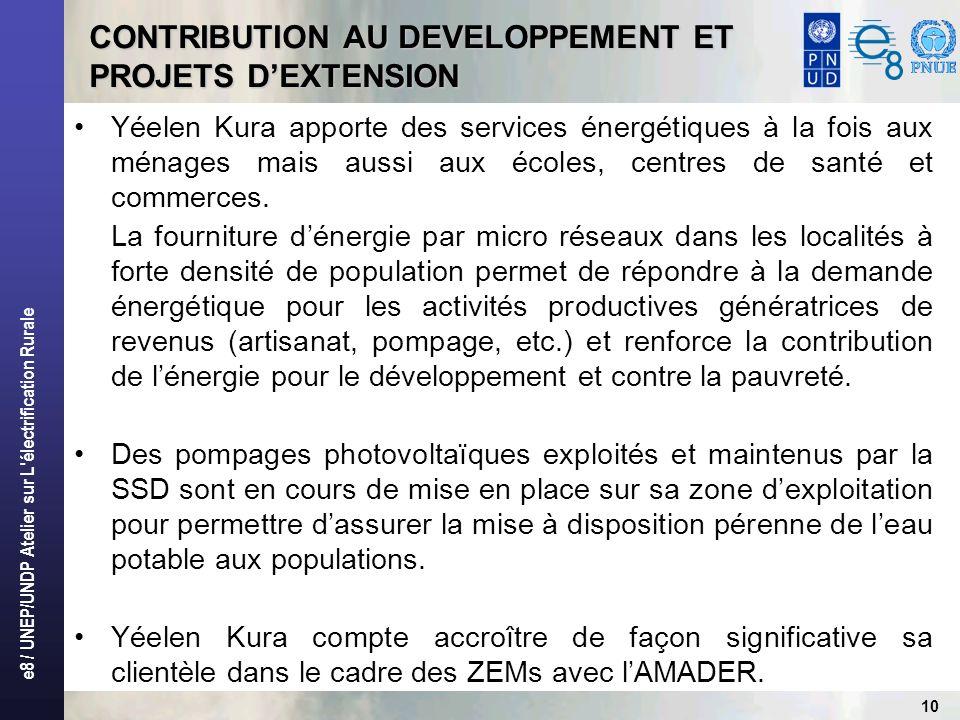 e8 / UNEP/UNDP Atelier sur L électrification Rurale 11 POINT DAVANCEMENT FIN MARS 2007 1 900 clients dont : -Domestiques (Ménages): 65 % -Communautaires: 20% -Productifs: 15% -Total population touchée: 38 000 Taux de recouvrement : 85 %
