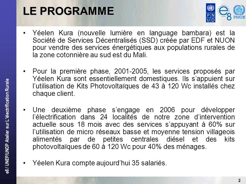 e8 / UNEP/UNDP Atelier sur L'électrification Rurale 2 Yéelen Kura (nouvelle lumière en language bambara) est la Société de Services Décentralisés (SSD
