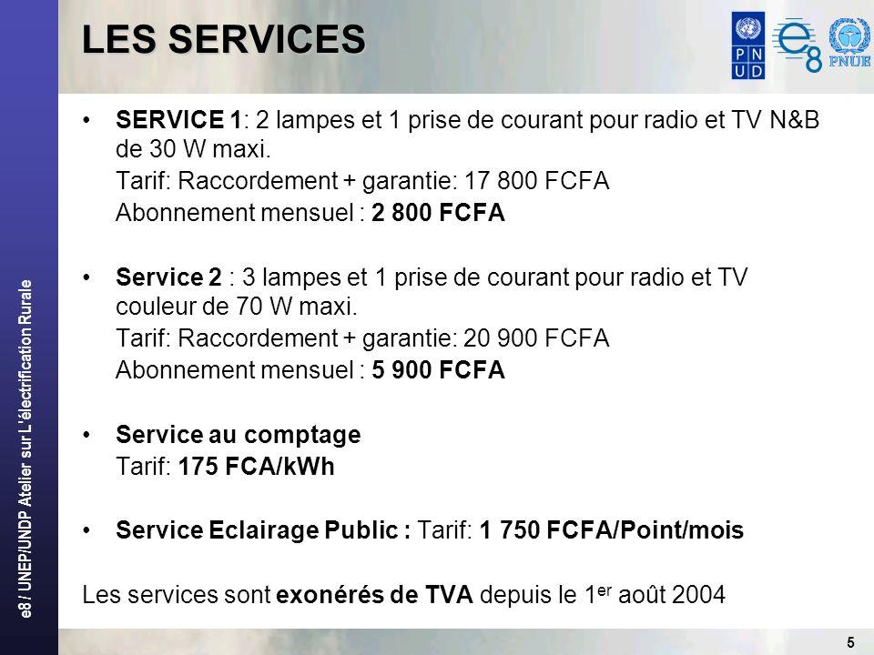 e8 / UNEP/UNDP Atelier sur L'électrification Rurale LES SERVICES SERVICE 1: 2 lampes et 1 prise de courant pour radio et TV N&B de 30 W maxi. Tarif: R