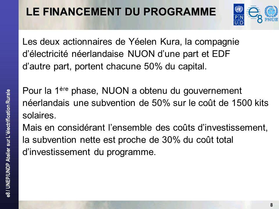 e8 / UNEP/UNDP Atelier sur L électrification Rurale 9 LE FINANCEMENT DU PROGRAMME (suite) BUSINESS PLAN PHASE 1: 1999 - 2005PHASE 2: 2006 - 2008 Clients1 5005 085 Habitat51 communes24 villages RégimeAutorisation MMEE du 17/12/2003 Autorisation en cours délaboration Investissement2 millions 3,24 millions Subventions50% coût du matériel solaire, et un taux net de 30% 2,29 millions soit 74% des investissements Fonds propres et emprunts1,7 millions dEuros0,96 million Liberté tarifaireoui RecouvrementBase mensuelle ForfaitaireBase mensuelle Forfaitaire et facturation sur comptage Avantages fiscauxExonération partielle sur le matériel solaire et TVA sur les tarifs Exonération totale sur le matériel et TVA sur les tarifs Durée du programme15 ans