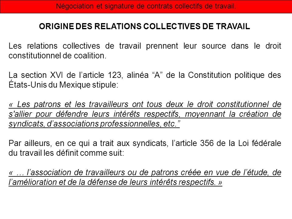 Négociation et signature de contrats collectifs de travail.