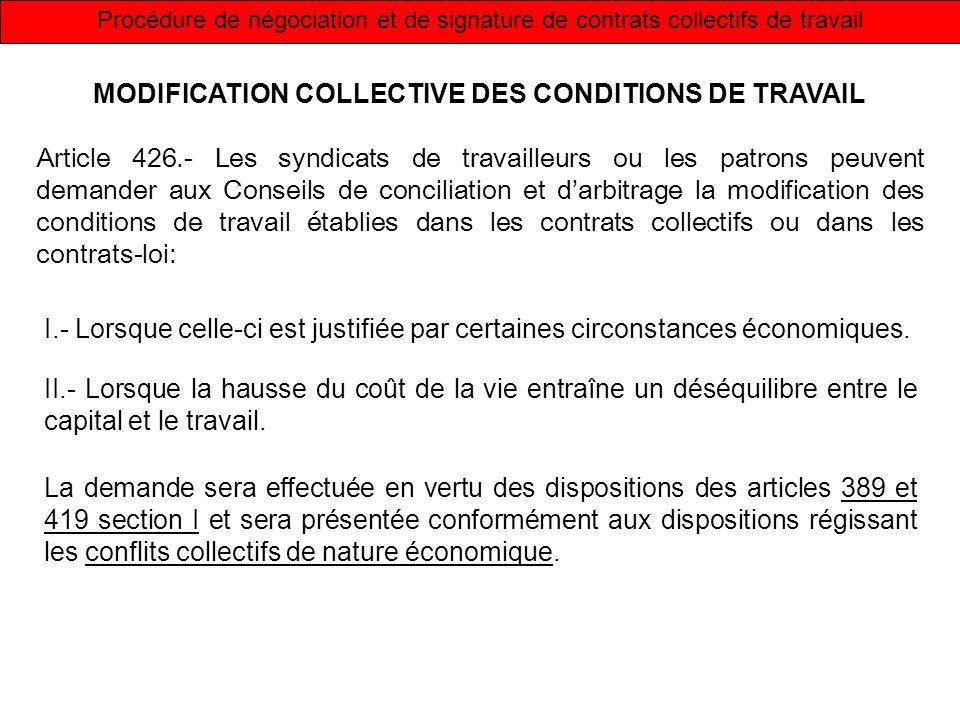 Procédure de négociation et de signature de contrats collectifs de travail MODIFICATION COLLECTIVE DES CONDITIONS DE TRAVAIL Article 426.- Les syndica