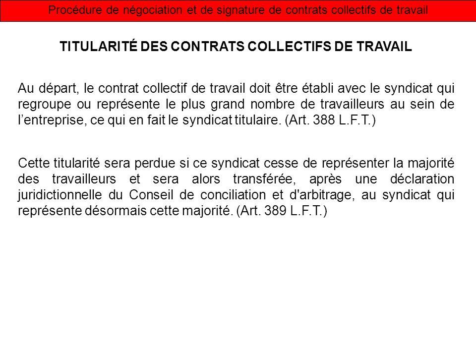 Procédure de négociation et de signature de contrats collectifs de travail TITULARITÉ DES CONTRATS COLLECTIFS DE TRAVAIL Au départ, le contrat collect