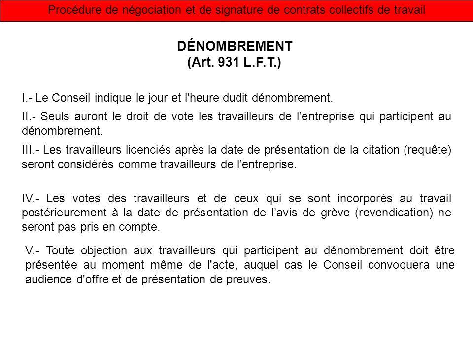 Procédure de négociation et de signature de contrats collectifs de travail DÉNOMBREMENT (Art. 931 L.F.T.) I.- Le Conseil indique le jour et l'heure du