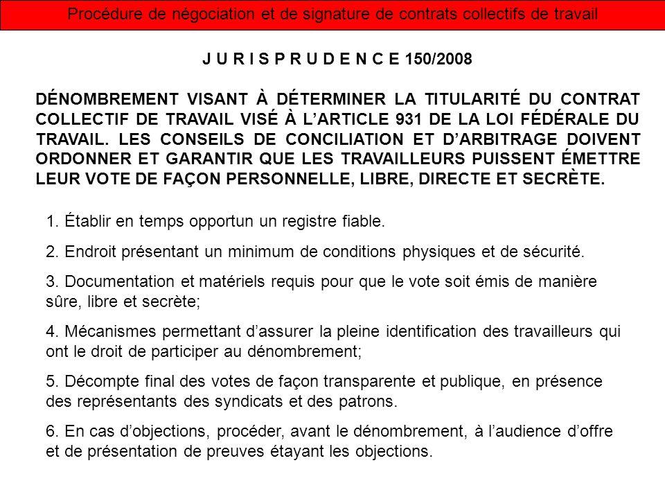 Procédure de négociation et de signature de contrats collectifs de travail J U R I S P R U D E N C E 150/2008 DÉNOMBREMENT VISANT À DÉTERMINER LA TITU