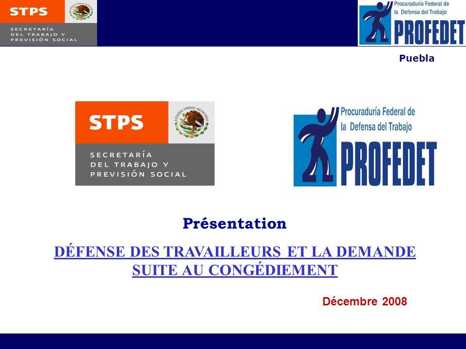 Puebla Présentation DÉFENSE DES TRAVAILLEURS ET LA DEMANDE SUITE AU CONGÉDIEMENT Décembre 2008