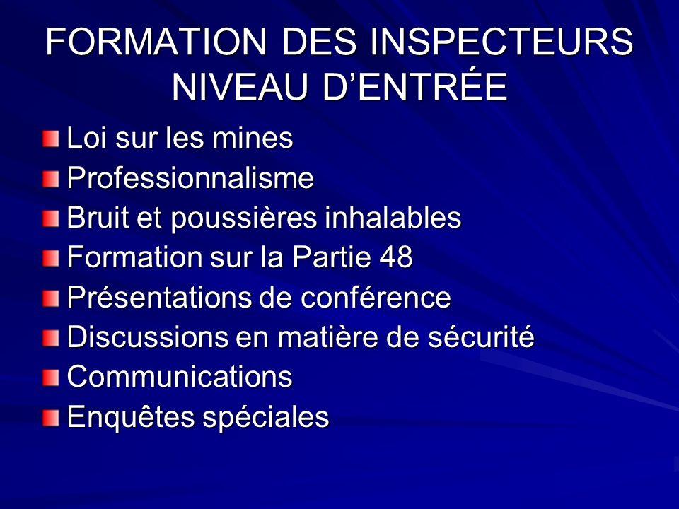 FORMATION DES INSPECTEURS NIVEAU DENTRÉE Loi sur les mines Professionnalisme Bruit et poussières inhalables Formation sur la Partie 48 Présentations d