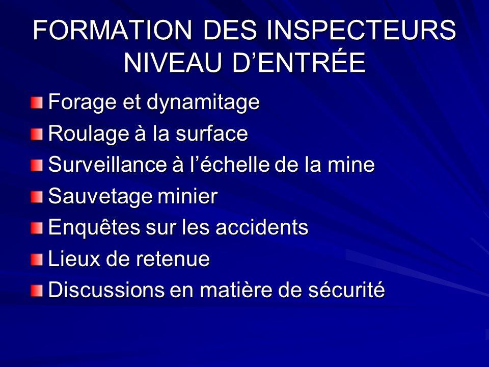 FORMATION DES INSPECTEURS NIVEAU DENTRÉE Forage et dynamitage Roulage à la surface Surveillance à léchelle de la mine Sauvetage minier Enquêtes sur les accidents Lieux de retenue Discussions en matière de sécurité