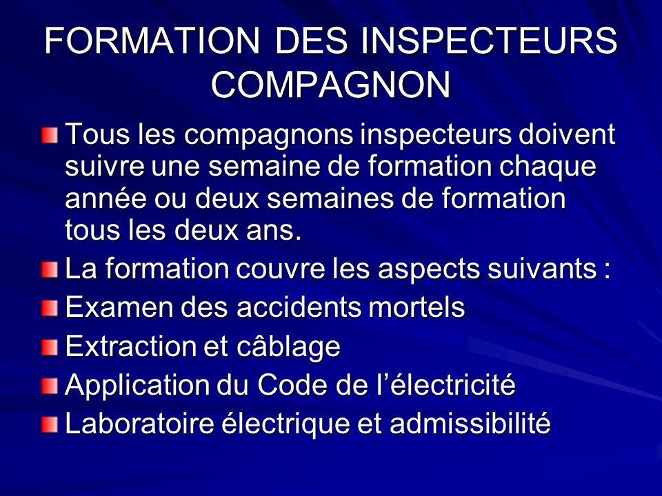 FORMATION DES INSPECTEURS COMPAGNON Tous les compagnons inspecteurs doivent suivre une semaine de formation chaque année ou deux semaines de formation tous les deux ans.