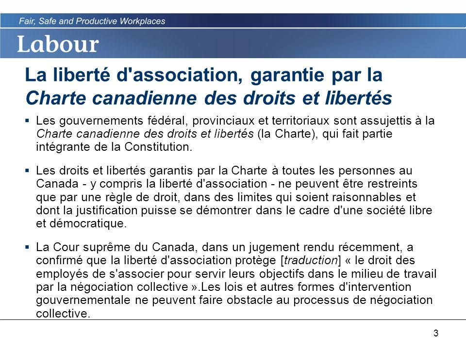 3 La liberté d association, garantie par la Charte canadienne des droits et libertés Les gouvernements fédéral, provinciaux et territoriaux sont assujettis à la Charte canadienne des droits et libertés (la Charte), qui fait partie intégrante de la Constitution.