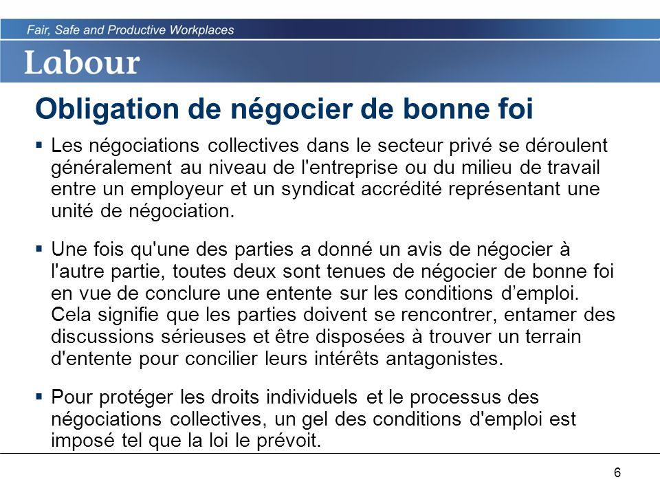 6 Obligation de négocier de bonne foi Les négociations collectives dans le secteur privé se déroulent généralement au niveau de l entreprise ou du milieu de travail entre un employeur et un syndicat accrédité représentant une unité de négociation.