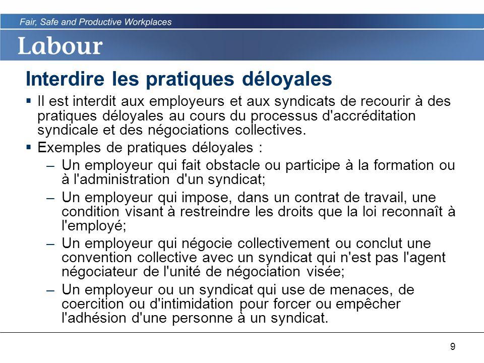9 Interdire les pratiques déloyales Il est interdit aux employeurs et aux syndicats de recourir à des pratiques déloyales au cours du processus d accréditation syndicale et des négociations collectives.