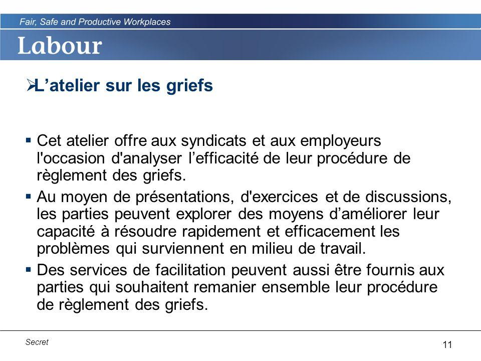 11 Secret Latelier sur les griefs Cet atelier offre aux syndicats et aux employeurs l occasion d analyser lefficacité de leur procédure de règlement des griefs.