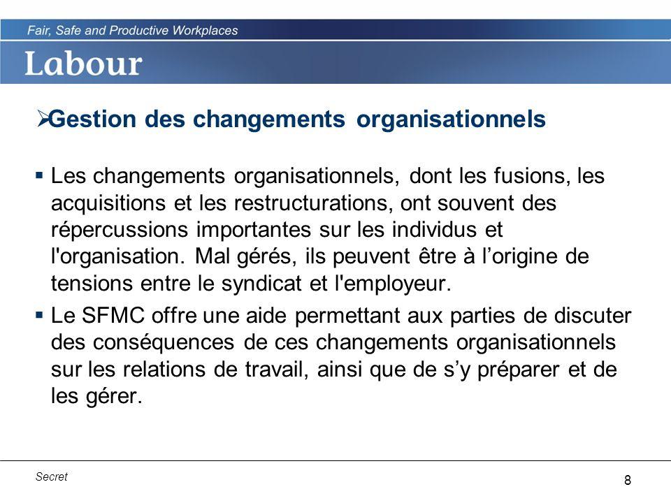 8 Secret Gestion des changements organisationnels Les changements organisationnels, dont les fusions, les acquisitions et les restructurations, ont souvent des répercussions importantes sur les individus et l organisation.