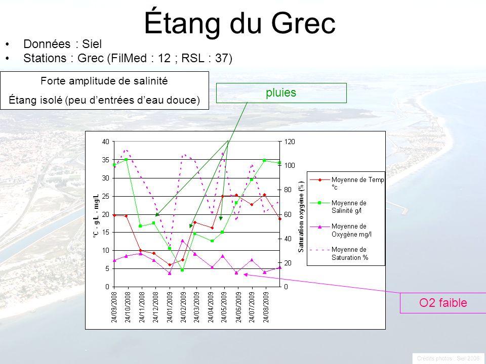 Étang du Grec Données : Siel Stations : Grec (FilMed : 12 ; RSL : 37) pluies O2 faible Forte amplitude de salinité Étang isolé (peu dentrées deau douc