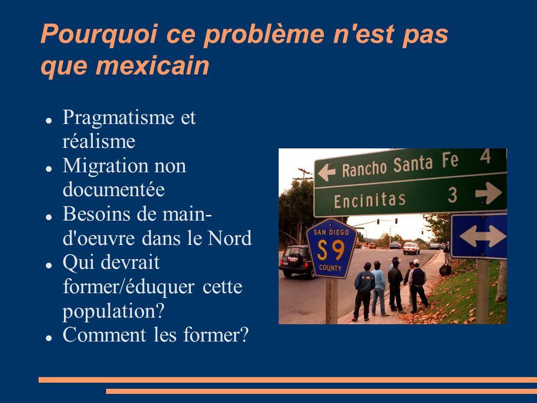 Pourquoi ce problème n'est pas que mexicain Pragmatisme et réalisme Migration non documentée Besoins de main- d'oeuvre dans le Nord Qui devrait former