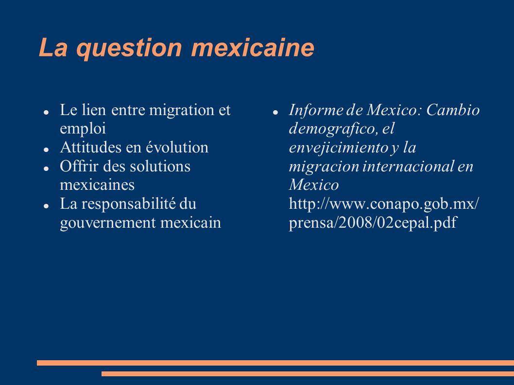 La question mexicaine Le lien entre migration et emploi Attitudes en évolution Offrir des solutions mexicaines La responsabilité du gouvernement mexic