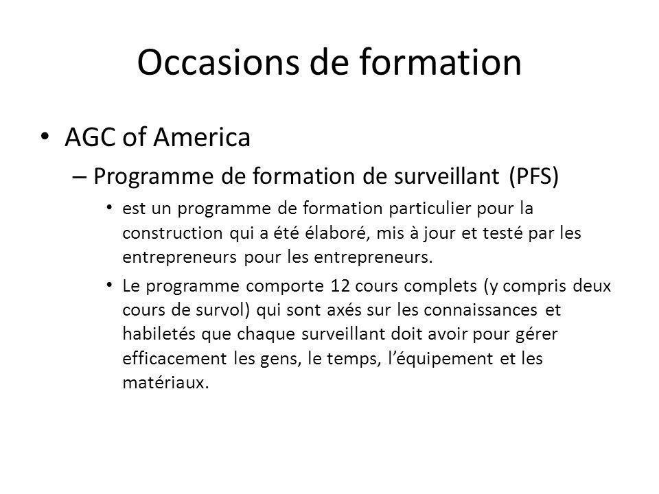 Occasions de formation AGC of America – Programme de formation de surveillant (PFS) est un programme de formation particulier pour la construction qui a été élaboré, mis à jour et testé par les entrepreneurs pour les entrepreneurs.