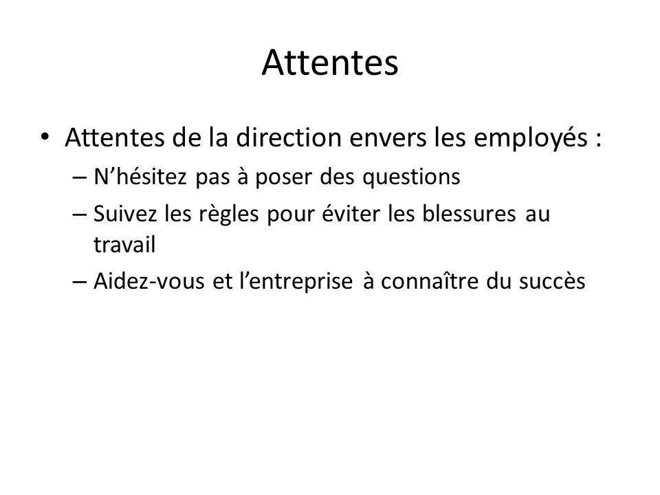 Attentes Attentes de la direction envers les employés : – Nhésitez pas à poser des questions – Suivez les règles pour éviter les blessures au travail – Aidez-vous et lentreprise à connaître du succès