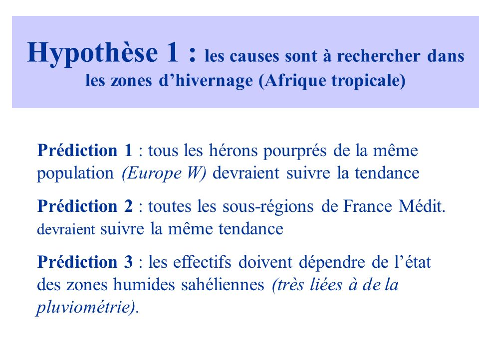 Hypothèse 1 : les causes sont à rechercher dans les zones dhivernage (Afrique tropicale) Prédiction 1 : tous les hérons pourprés de la même population (Europe W) devraient suivre la tendance Prédiction 2 : toutes les sous-régions de France Médit.
