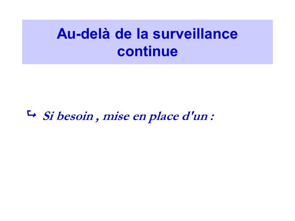 Au-delà de la surveillance continue Si besoin, mise en place d un :