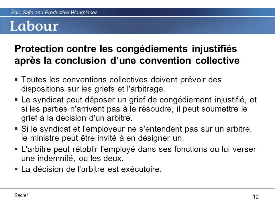 12 Secret Protection contre les congédiements injustifiés après la conclusion dune convention collective Toutes les conventions collectives doivent prévoir des dispositions sur les griefs et l arbitrage.