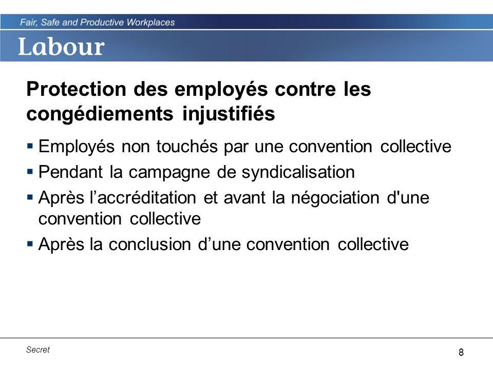 9 Secret Protection contre les congédiements injustifiés pour les employés non touchés par une convention collective Lemployé peut déposer une plainte auprès de Travail Canada s il travaille pour l employeur depuis au moins un an.