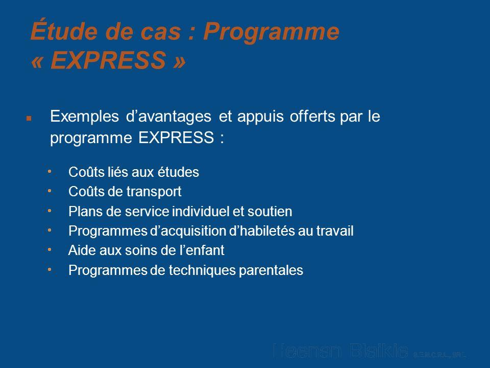 Étude de cas : Programme « EXPRESS » Exemples davantages et appuis offerts par le programme EXPRESS : Coûts liés aux études Coûts de transport Plans de service individuel et soutien Programmes dacquisition dhabiletés au travail Aide aux soins de lenfant Programmes de techniques parentales