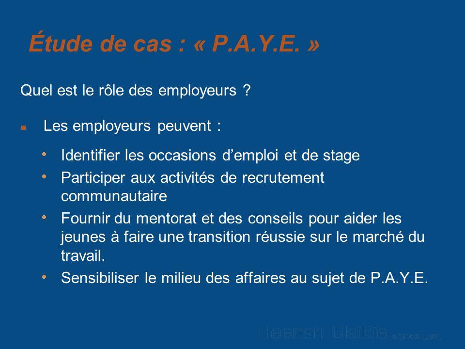 Étude de cas : « P.A.Y.E. » Quel est le rôle des employeurs .