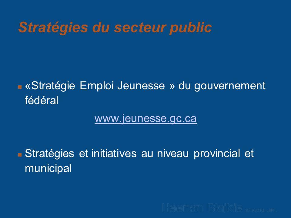 Stratégies du secteur public «Stratégie Emploi Jeunesse » du gouvernement fédéral www.jeunesse.gc.ca Stratégies et initiatives au niveau provincial et municipal