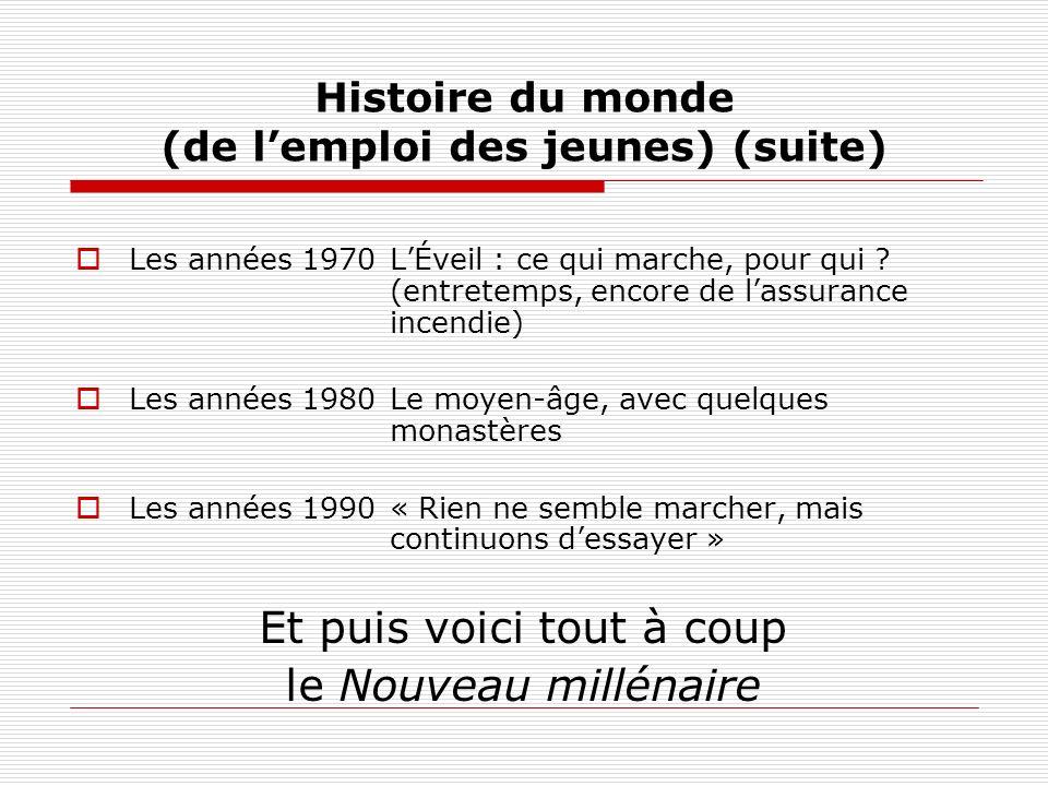 Histoire du monde (de lemploi des jeunes) (suite) Les années 1970LÉveil : ce qui marche, pour qui .